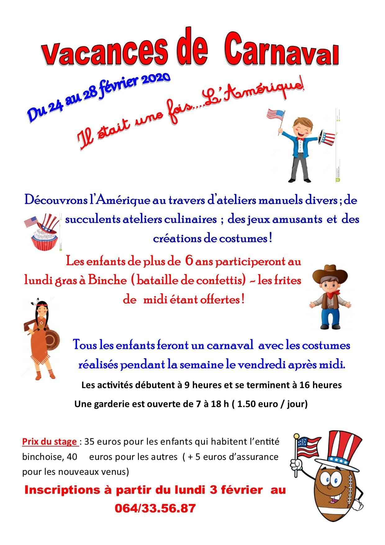 Péronnes – Vacances de Carnaval «Il était une fois… l'Amérique !»