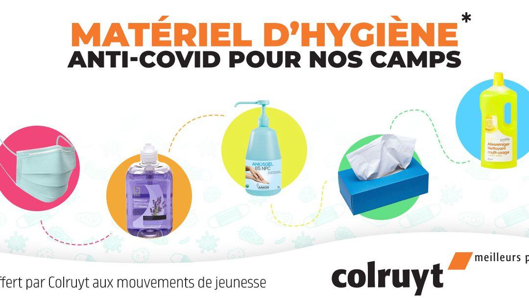 Partenariat avec Colruyt : disposition de colis de matériel d'hygiène anti-covid