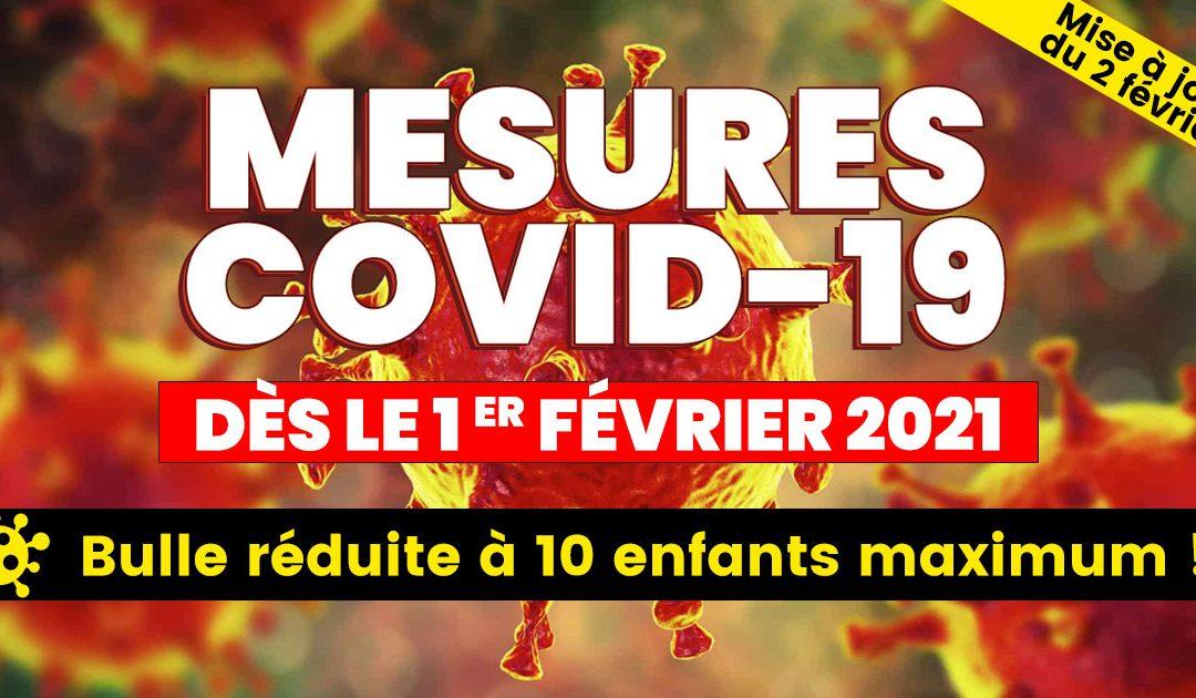 Mesures covid-19 à partir du 1er février 2021