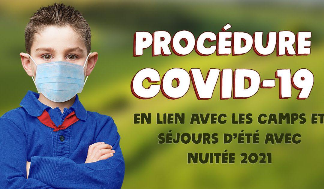 Procédure COVID-19 en lien avec les camps et séjours d'été avec nuitée 2021